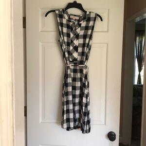 Loft black & white plaid dress medium
